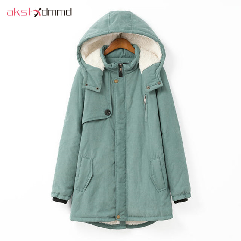 AKSLXDMMD Large size 100KG   Parka   2019 New Winter Women Hooded Padded Jacket Coat Cashmere Warm Jackets and Coats Female LH467