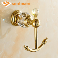 Free Shipping Luxury Golden Brass Wall Mounted Bathroom Hooks Dual Robe Hangers Crystal Towel Hap Hooks