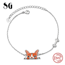 New arrival 100% 925 Sterling Silver 18cm Luxury dog head Chain charms beads Authentic Bracelet Fashion Jewelry making for gifts