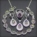 925 Plata de La Joyería Para Las Mujeres Gota Arco Iris Creado Topacio Pendientes/Colgante/Collar/Anillos/Pulseras Caja de Regalo libre