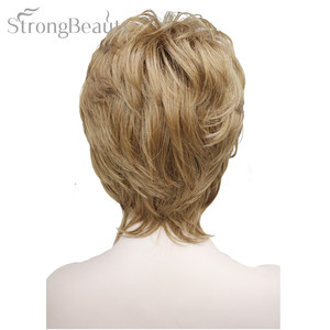 Image 3 - Strong Beauty Female Wigs Synthetic Short Body Wave Blonde Silver Brown Wig For Black Women