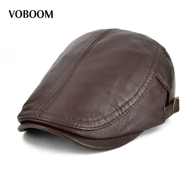 0a6f2cc8c18 VOBOOM Sheepskin Real Leather Flat Cap Men Women Spring Summer Beret  Adjustable Breathable Soft Cabbie Newsboy