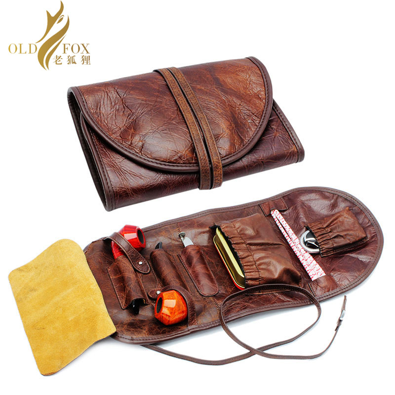 OLDFOX Kraft first layer Leather Smoking Tobacco Pipe Pouch Bag Organize Case Pipe Tool lighter Holder Pocket for 2 pipe fc0001