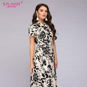 Image 3 - S.FLAVOR Women Long Dress Short Sleeve Floral Print Boho Dress Elegant Party Dress Slim Maxi vestido de festa