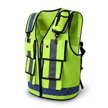 Светоотражающий жилет для дорожного движения, флюоресцентная одежда рабочий инженерный жилет безопасности с несколькими карманами