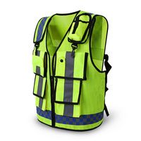 Reflective vest Traffic warning road fluorescent clothes working engineering safety vest multi pockets workwear
