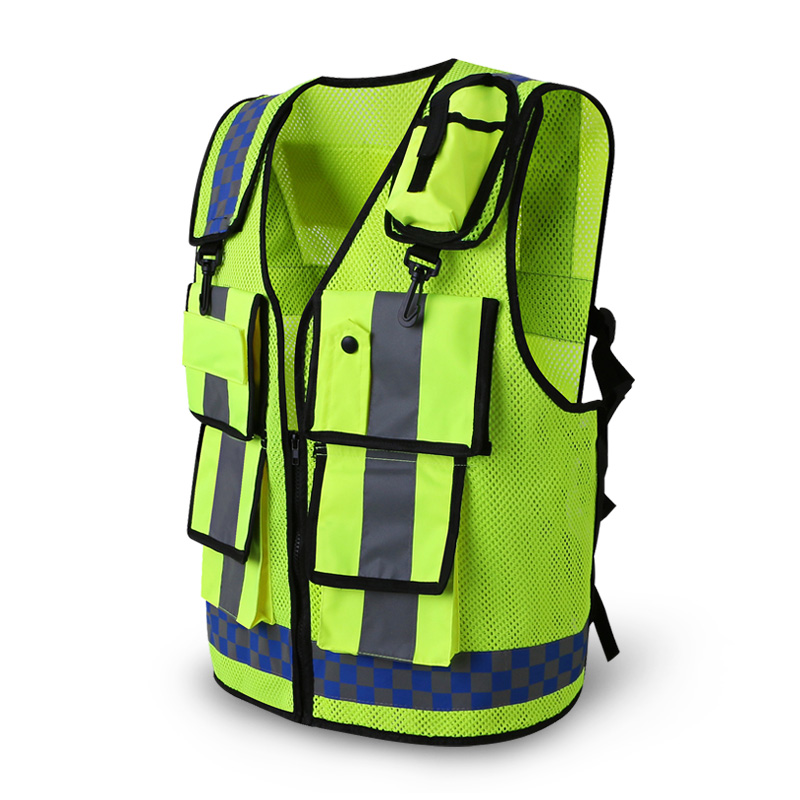 Reflective vest Traffic warning road fluorescent clothes working engineering safety vest multi pockets workwearReflective vest Traffic warning road fluorescent clothes working engineering safety vest multi pockets workwear