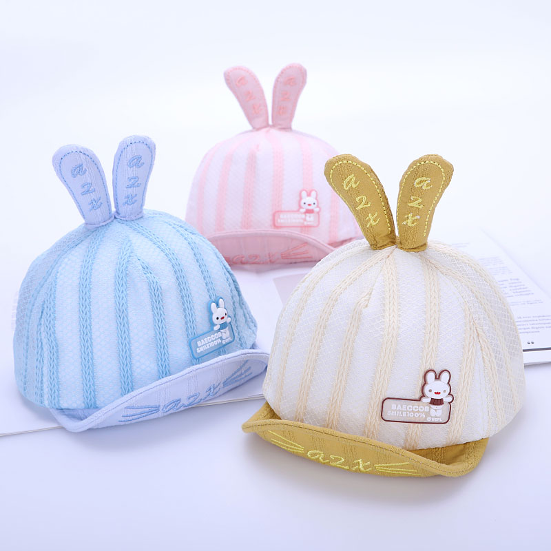 2019 Summer Baby Hat For Boys Girl Baseball Cap Lovely Rabbit Design Mesh Hats  Adjustable Soft Brim Baseball Hat Caps Chapeu