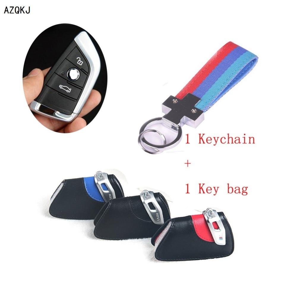 Azqkj high quality keychain genuine leather car key chain cover bag key case holder wallet for bmw x5 x6 f15 series car styling