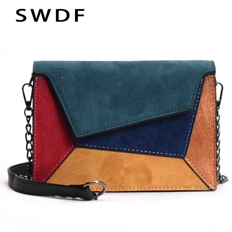 SWDF 2019 New Bags Woman Punk Colorful Shoulder Bags Girl Luxury Bolsa  Patchwork Messenger Bags Ladies f68d5d4592a24