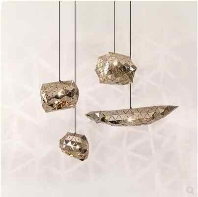 Nordic post-современные сетчатая люстра из нержавеющей стали зеркало Ресторан гостиная простой светодиодный настольная лампа
