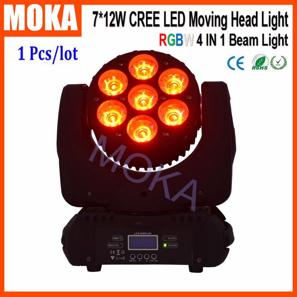 Fast Shipping 7*12W Cree LED RGBW 4IN1 Beam Moving Head Light 3200K~10000K LED Head Moving Bar Disco Lights