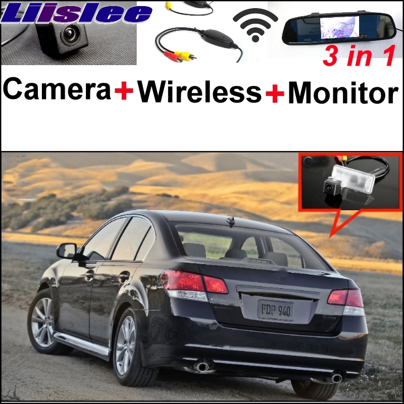 Liislee 3 in1 Special Rear View Camera + Wireless Receiver + Mirror Monitor Back Parking System For Subaru Legacy B4 MK5 Liberty
