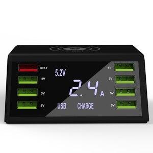 Image 3 - STOD cargador USB inalámbrico Qi, estación de carga rápida 3,0 con pantalla LED de 60W para iPhone X, Samsung, Huawei, Nexus Mi, adaptador