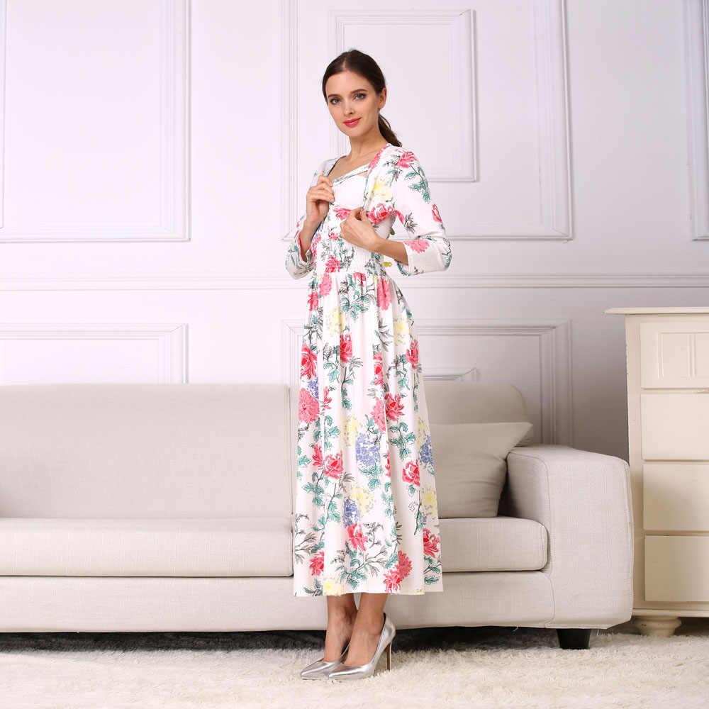 Эмоции мамы Новинка с цветочным узором, из хлопка; одежда для мам; Одежда для беременных Для женщин платье для кормящих длинные Грудное вскармливание Платья