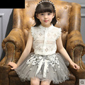 2017 Summer New Baby Girl Sets Sleeveless Lace T-shirts+Gauze Skirt Two Piece Fashion Outfits Children Clothing 1686
