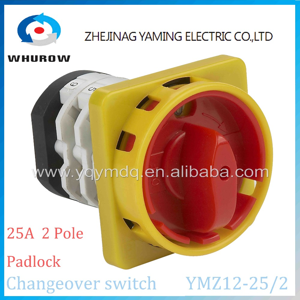 цена на Rotary switch 2 position OFF-ON YMZ12-25/2GS padlock universal manual electrical changeover cam switch 25A 2 pole high quality
