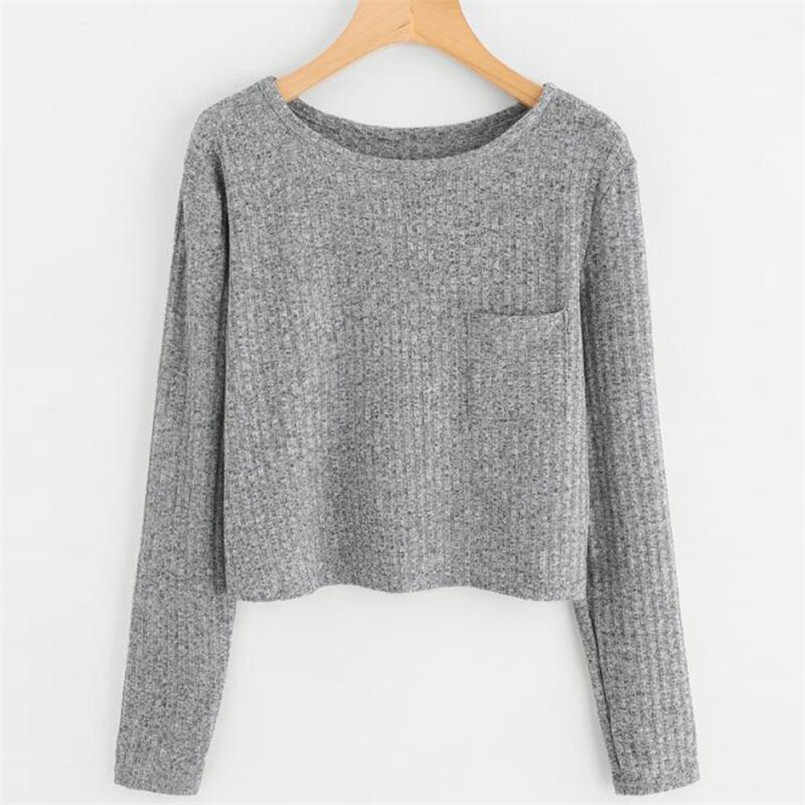 2018 New Fashion women sweatshirts long sleeve o neck Massager casual sweatshirt solid color elegant casual Tops tumblr