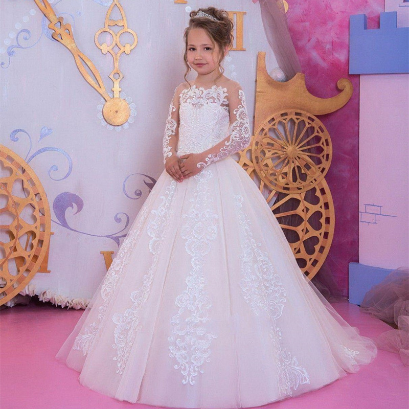 Romantic White Flower Girl Dresses Lace Applique Long Sleeve  For Weddings Girl Tulle Communion Pageant Party Dresses