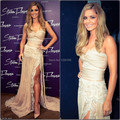 Sexy Champagne Mermaid Gowns One Shoulder Side Slit Appliqued Lace Woman Dress Cheryl Cole Celebrity Dresses 2014 Vestido