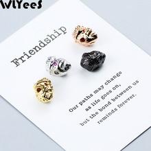 WLYeeS 4pcs CZ Red eye Monkey Pendant Copper Bead Gold/Rose Gold/Silver/Black Charm Metal Loose jewelry bracelet making DIY