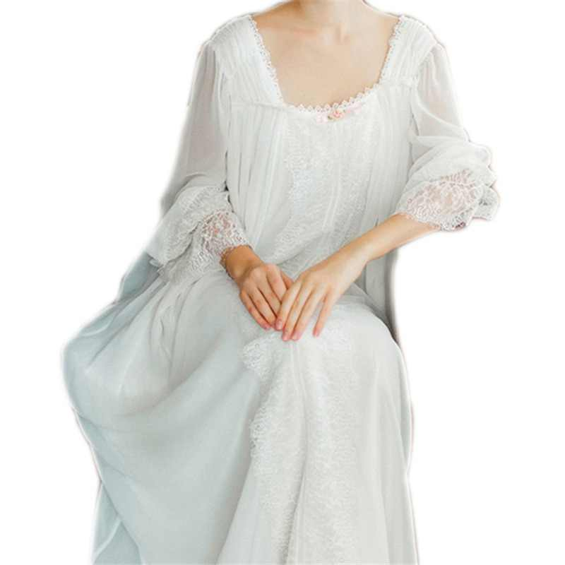 a49f13ddcf Healthy Home Dress Nightgown Women Plus Size Long White Cotton Sleepwear  Flare Sleeve Casual Night Dress