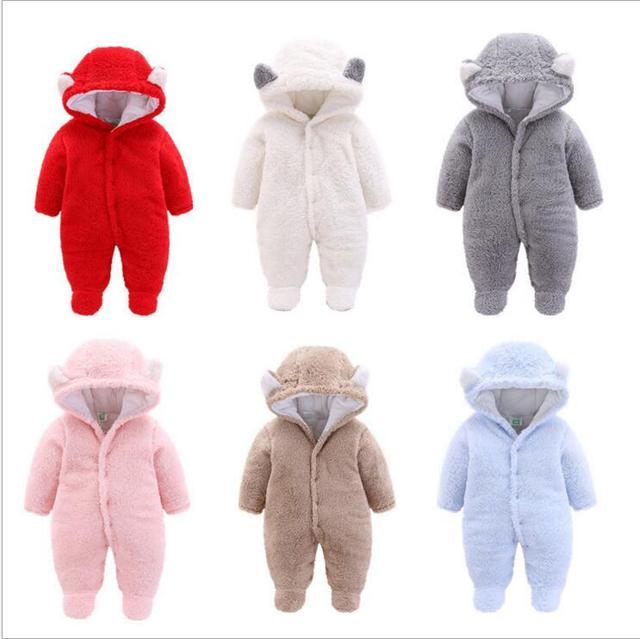 Winter Baby Overall Newborn Baby Boy Clothes 0 3 Months Babies Hoo Fleece Footies Plush Jumpsuit Winter Overalls For Kids