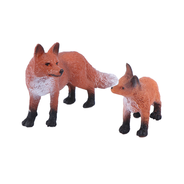 Mini Simulation Red Fox Models Home Garden Statues Ornaments Figurine Decoration For Forest Style Home Decor Accessories 2