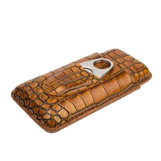 3 Tube Cigar Case Genuine Leather Brown
