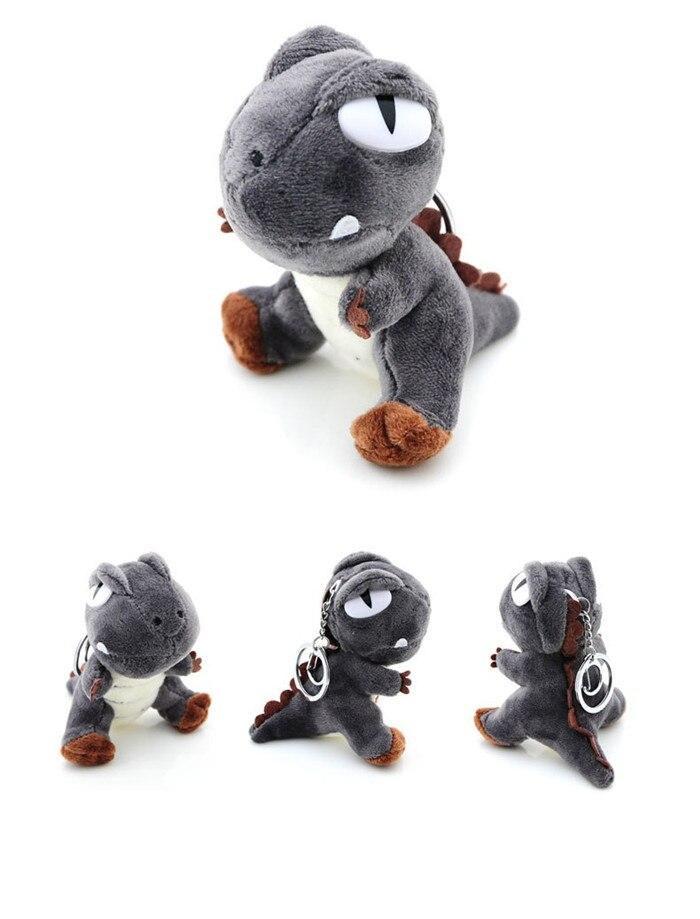 Cute Small Tyrannosaurus Plush Doll Key Ring Silver Chain Woman Bag Charms Pom Pom Dinosaur Toy Keychain Man Trinket Party Gift (9)