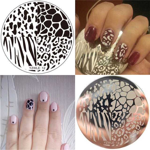WUF 5 5cm Round Nail Template Leopard Nail Art Plate Stainless Steel Image  Nail Art Stamping Decor DIY Nail Tool-in Nail Art Templates from Beauty &