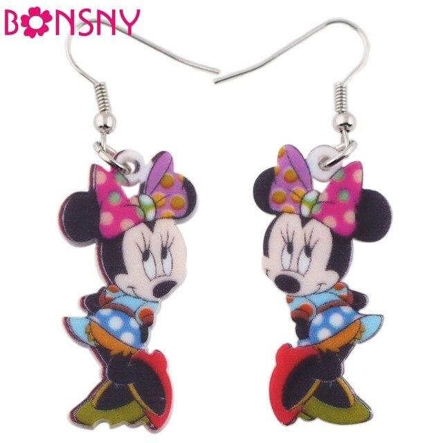Bonsny Drop Brand Big Long Dangle Pink Mouse Earrings Acrylic New 2016 Animal Jewelry Girls Women Cartoon Earrings Accessories