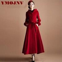 YMOJNV 2017 Winter Hooded Wollen Jas Vrouwen 2017 Nieuwe Collectie Rok Stijl Rode Kasjmier Jas Overjassen Lange Wollen Bovenkleding Vrouwelijke