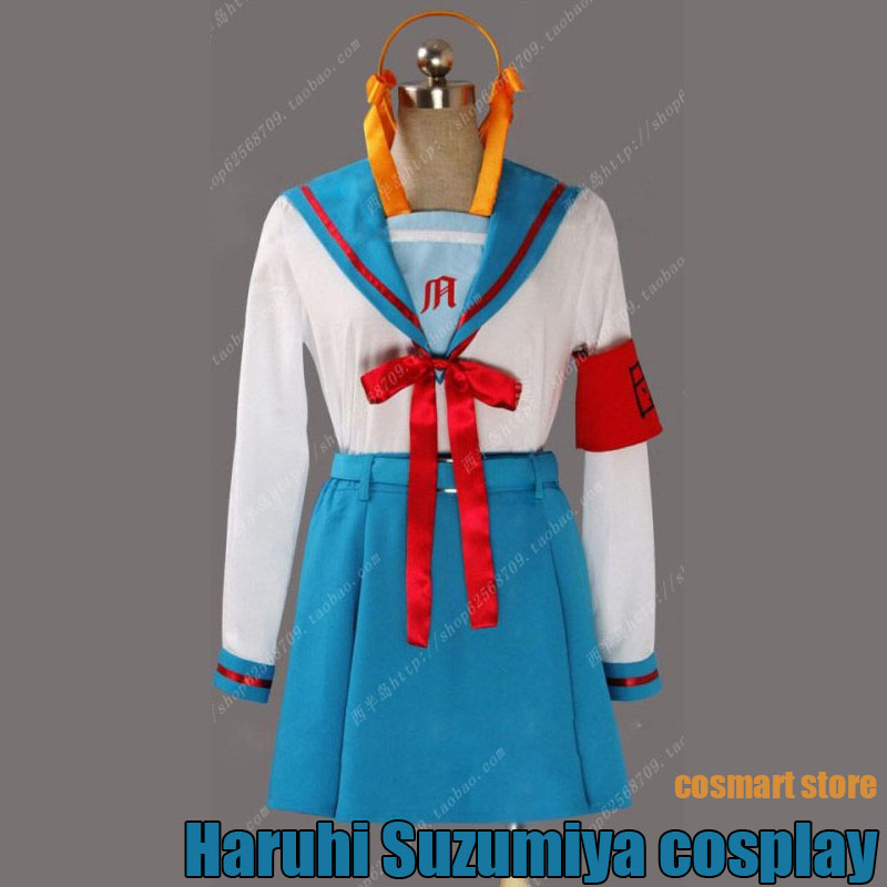 [Customize]Anime Haruhi Suzumiya Asahina Mikuru Cosplay Costume School Uniform Suit Any Size Free Shipping