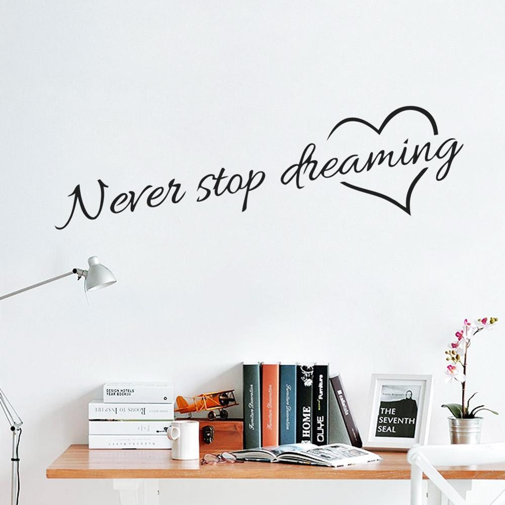 Us 168 Inspirational Quotes Stickers Never Stop Dreaming Heart Pattern Vinyl Decals Wall Decorations Living Room Wallpaper In Wall Stickers From