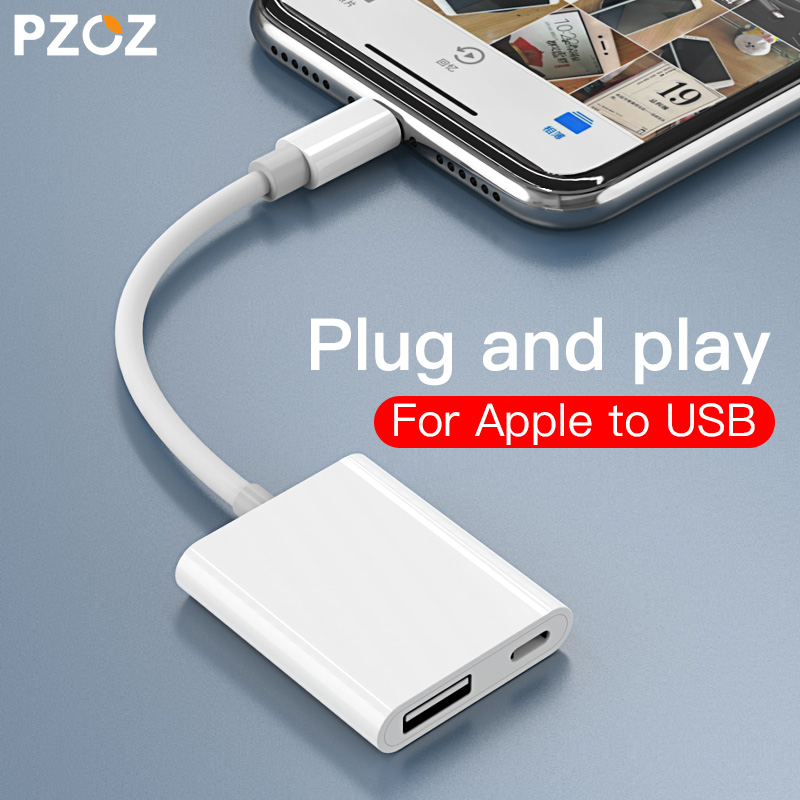 PZOZ 2 In 1 OTG Cable For Apple  Iphone USB Camera Reader Adapter Connector Kit Data Sync Cable  For Iphone X 8 7 Plus 6S