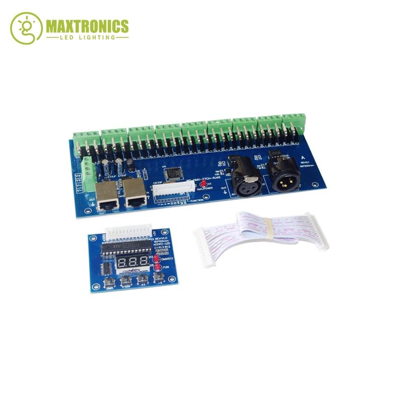 Best price 1pcs high power DC12V-24V DMX-27CH-RJ45-led dimmer 1A*27CH decoder led RGB controller wholesale 1pcs dmx 27ch rj45 led digital display led dimmer 1a 27ch dmx512 xrl 3p decoder controller for rgb led strip lights