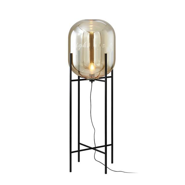 Smoke Glass Lamp Floor Lamp Loft Replica Design Lamp Modern Stained Glass  Sculpture Lighting Cognac Glass