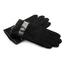 2018 New Men'S Retro Autumn And Winter Plus Velvet Gloves Warm Suede Buckle Sheepskin Cold Gloves Men'S Black Gloves 9007-5 цена