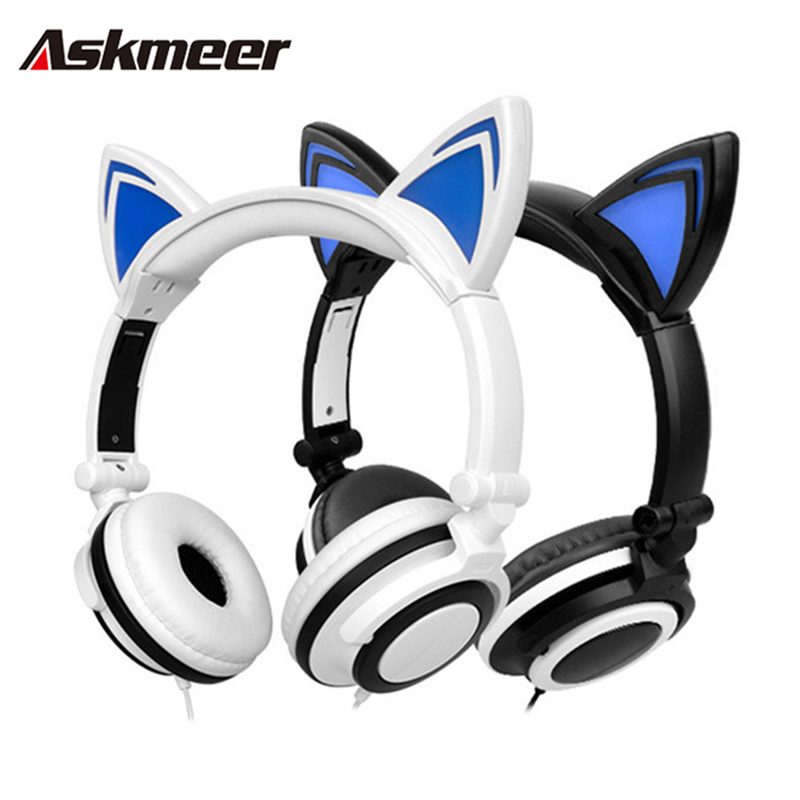 Askmeer Foldable Cute Cat Ear Headphones Flashing Glowing Gaming Earphone Headset with LED Light for PC Laptop Phone Music teamyo glowing cat ear headphones gaming headset auriculares music earphone with led light for iphone xiaomi mobile phone pc mp3
