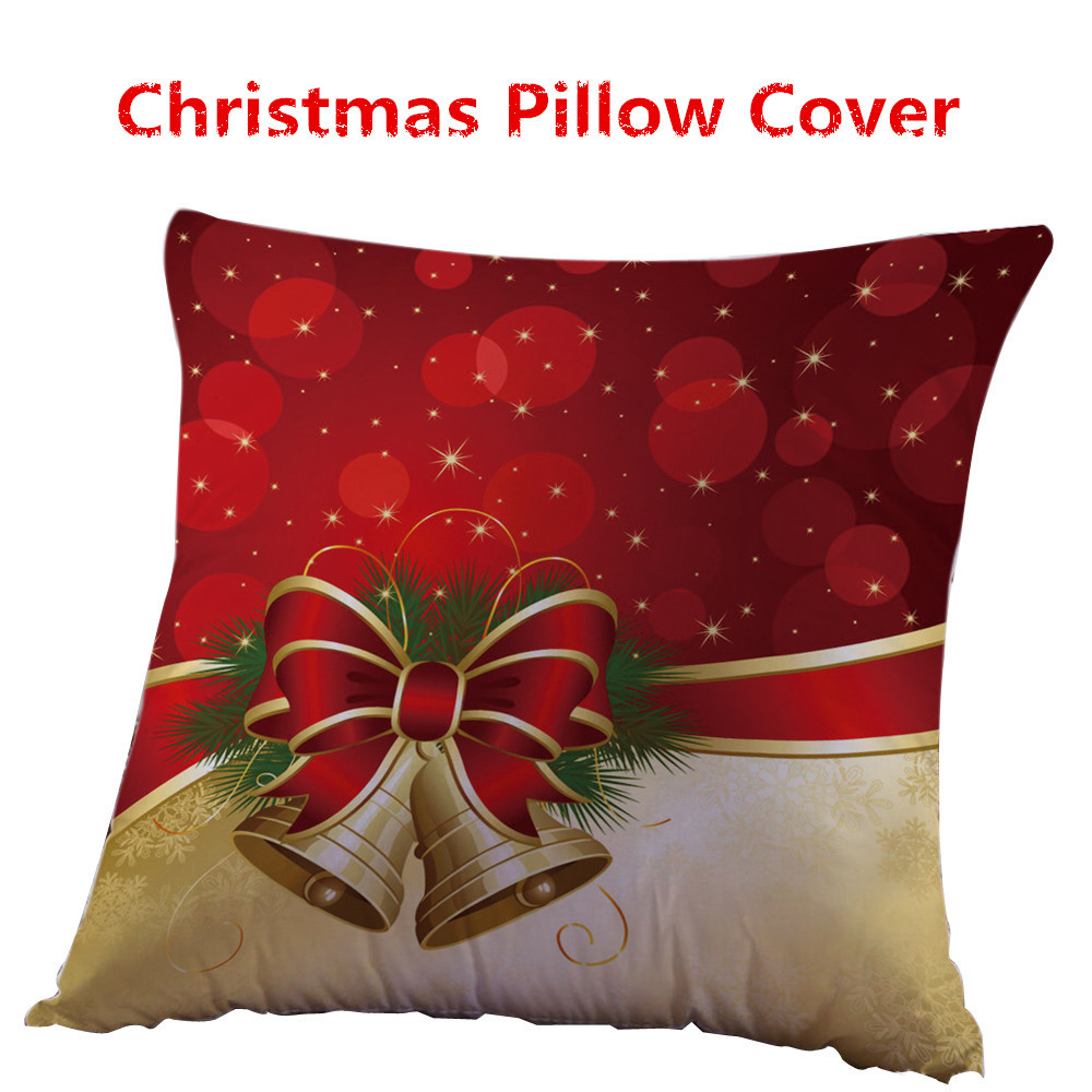 Christmas Xmas Linen Cushion Cover Throw Pillow Case Home: Christmas Linen Square Throw Flax Pillow Case Decorative