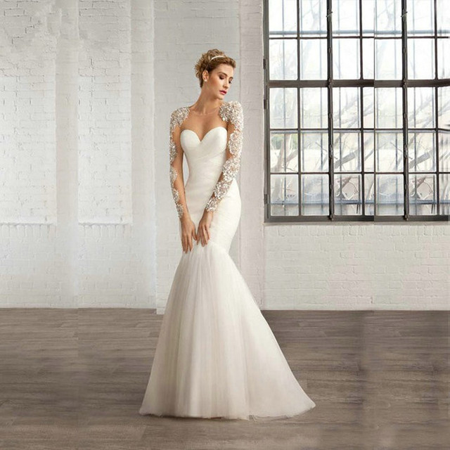 New White Tulle Mermaid Wedding Dresses 2017 Long Sleeve Bridal Gown ...