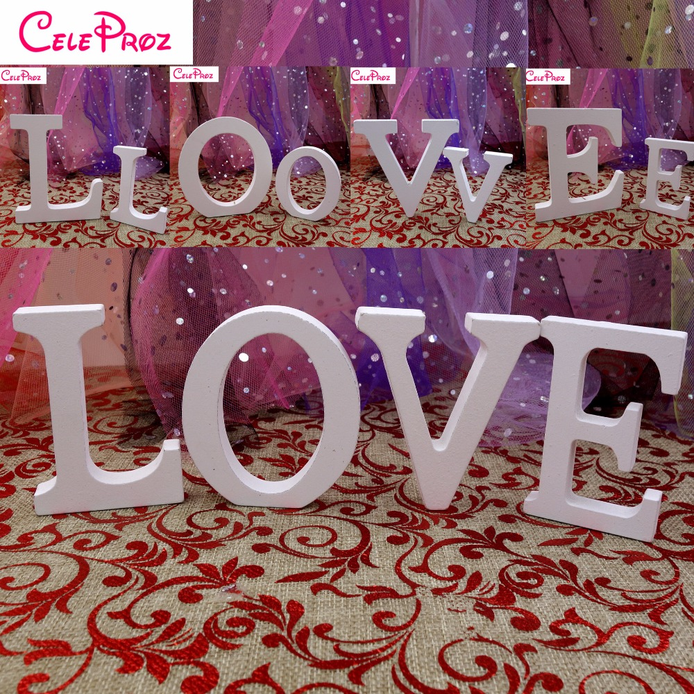 Us 0 99 8cm White Wooden Letter A Z Wooden Alphabet Word Ornaments Wedding Party Home Decoration In Party Diy Decorations From Home Garden On