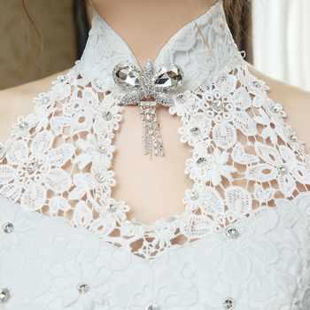 Fashionable New Design Elegant Hign Neck Crystal Bow Tie Flower Applique Wedding Dress Flower Sash Lace Wedding Gown