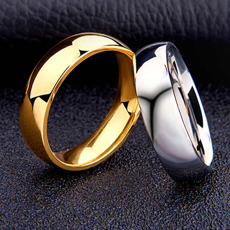 Titanium Steel High Polished Silver Gold Wedding Engagement Rings for Men 6mm Classic Simple Wedding Rings for Male Size 5 to 13