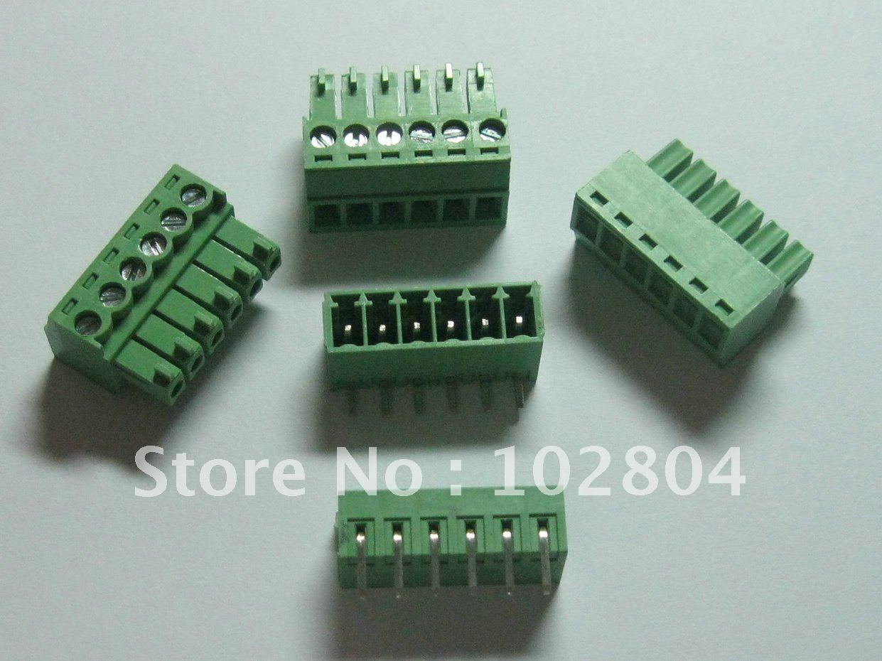 100 pcs Angle 6pin way Pitch 3 81mm Screw Terminal Block Connector Green Color Pluggable Type