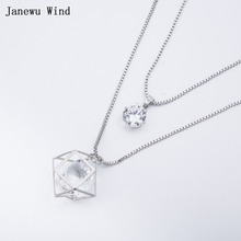 Janewu Wind Three-dimensional Geometric design big Crystal Pendant Necklace female double layers chain Crystal Necklace women