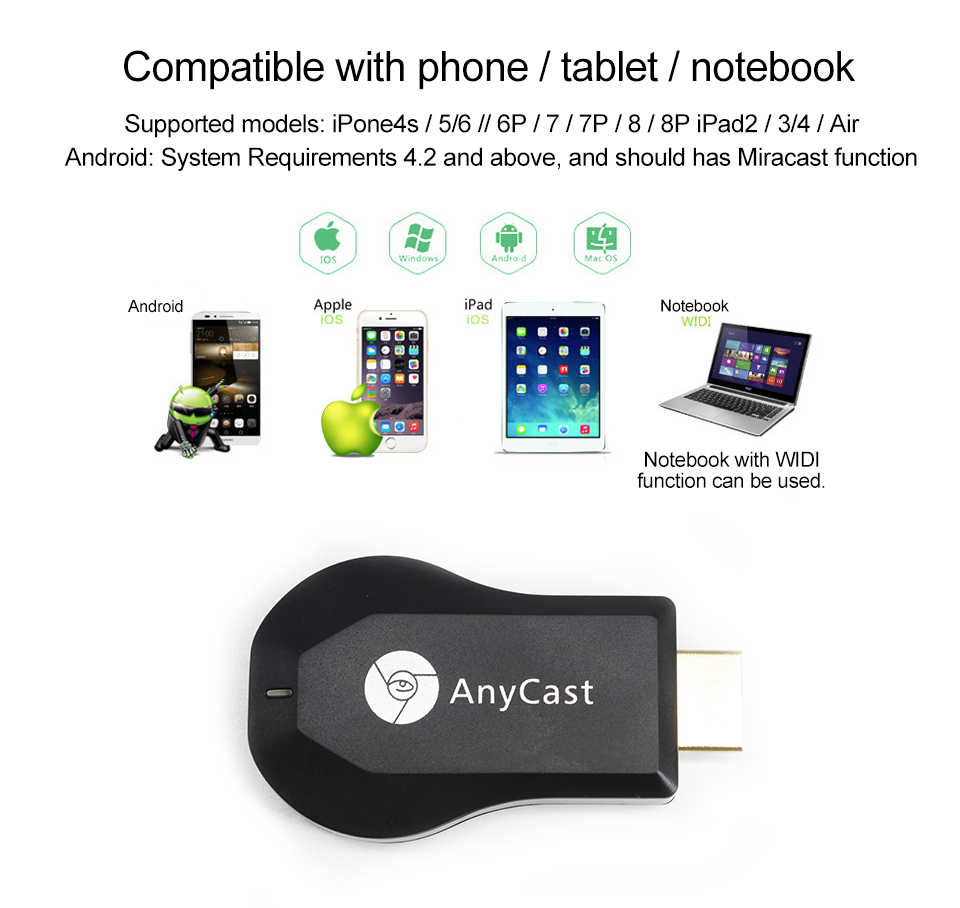 AnyCast M4 Plus Wireless WiFi Display Dongle Receiver 1080P HD Interface TV  Stick DLNA Airplay Miracast for Smart Phones Tablet-in HDMI Cables from