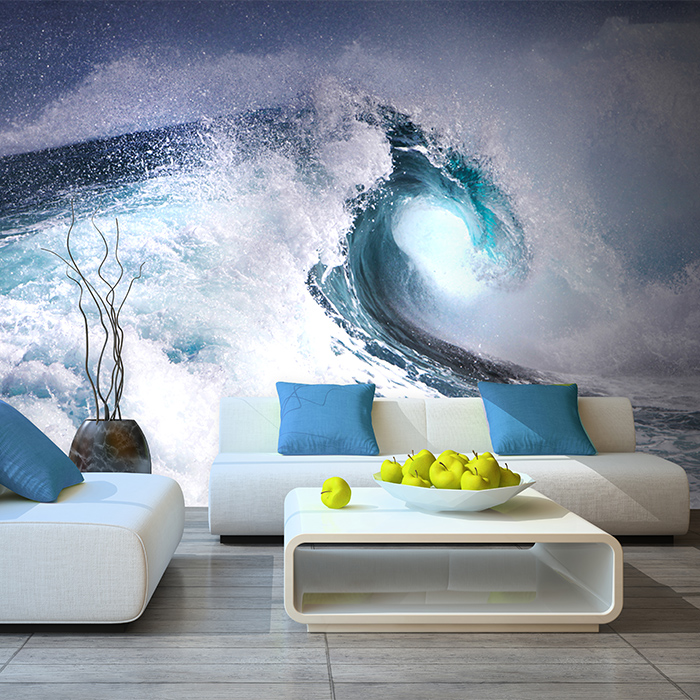 цены  Free Shipping 3D stereo sea scenery large mural wallpaper living room TV backdrop hotel restaurant wallpaper