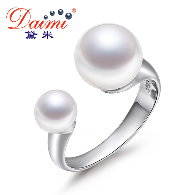 DAIMI 100% natural Pearl rings , Pearl Size:6-7mm & 9-10mm Double Pearl Ring  white  Natural Freshwater Pearl  Rings